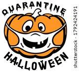 orange pumpkin wearing surgical ... | Shutterstock .eps vector #1792424191