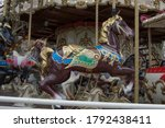 Brown Wooden Carousel Horse On...