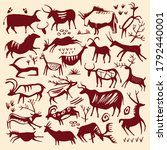 cave painting vector animal set ... | Shutterstock .eps vector #1792440001