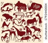 cave painting vector animal set ... | Shutterstock .eps vector #1792440004
