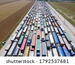 Trucks Standing In Line At The...