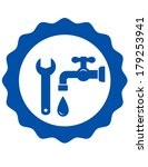 Blue Plumbing Icon With Tap An...