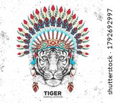 hipster animal tiger with...   Shutterstock .eps vector #1792692997