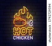 hot chicken neon sign  bright... | Shutterstock .eps vector #1792729594