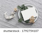 christmas greeting card mockup... | Shutterstock . vector #1792754107