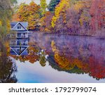 Houseboat On Black River In Fall