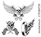 motorcycle bike labels set with ... | Shutterstock .eps vector #179284739