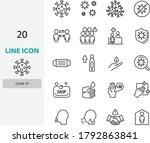 set of coronavirus line icons ... | Shutterstock .eps vector #1792863841