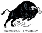 Angry Bull  Attacking Pose ...