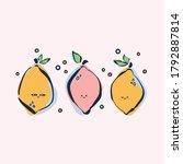 colorful hand drawn lemons in...   Shutterstock .eps vector #1792887814