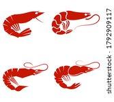 set of red sea shrimps.... | Shutterstock .eps vector #1792909117