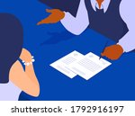 two people signing documents at ... | Shutterstock .eps vector #1792916197