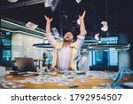 Joyful Business Investor Happy...
