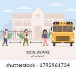 social distancing at school... | Shutterstock .eps vector #1792961734