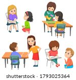 Pupils Vector  Kids Talking And ...