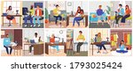 podcasters scenes set. young...   Shutterstock .eps vector #1793025424