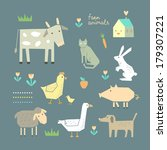 Cute Farm Animals In Vector