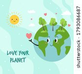 happy green earth planet and... | Shutterstock .eps vector #1793086687