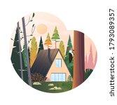 modern cabin at highland on... | Shutterstock .eps vector #1793089357