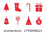 christmas red icon set. merry... | Shutterstock .eps vector #1793098621