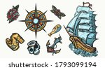 pirates color elements. tattoo... | Shutterstock .eps vector #1793099194