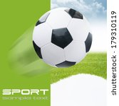 soccer ball on green stadium | Shutterstock . vector #179310119