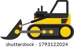 Yellow Black Bulldozer Vector...