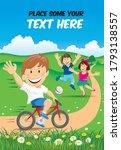 cartoon happy smiling children... | Shutterstock .eps vector #1793138557