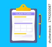 clipboard with claim form on it ...   Shutterstock .eps vector #1793203087