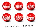 red 3D spheres printed with sale announcements - stock photo