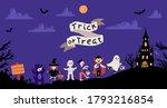 halloween kids costume party.... | Shutterstock .eps vector #1793216854