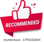 red banner recommended with... | Shutterstock .eps vector #1793232064