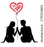 silhouette of a loving couple... | Shutterstock .eps vector #179324801