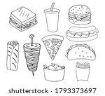 fast food doodle icons set.... | Shutterstock .eps vector #1793373697
