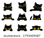 set of cute black cartoon cats... | Shutterstock .eps vector #1793409487
