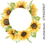 Watercolor Frame With Sunflower ...