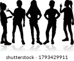 silhouette of children on... | Shutterstock .eps vector #1793429911