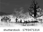 spooky old graveyard inside fog ...   Shutterstock .eps vector #1793471314