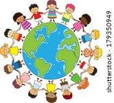 happy children holding hand   Shutterstock . vector #179350949