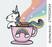 unicorn coffee cup with rainbow ... | Shutterstock .eps vector #1793523424