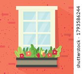 window  box with flowers. red... | Shutterstock .eps vector #1793586244