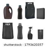 black detergent pack mockup set ... | Shutterstock .eps vector #1793620357