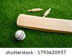 Cricket Bat Ball Stumps And...