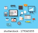 business and office flat icons... | Shutterstock .eps vector #179365355