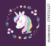 white unicorn vector head with... | Shutterstock .eps vector #1793721127