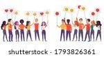 people holding emoji posters... | Shutterstock . vector #1793826361
