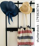 Two Hats And Summer Bag Hanging ...