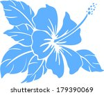 hibiscus flower silhouette on a ... | Shutterstock .eps vector #179390069