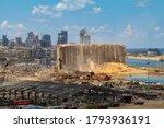 Small photo of Beirut / Lebanon - 08 11 2020: Beirut Port Massive Explosion site. Hundreds of tonnes of wheat appear among the rubble as Lebanon's backup wheat silos got demolished