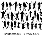 jumping girl silhouettes | Shutterstock .eps vector #179395271